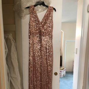 Badgley Mischka rose gold sequin gown